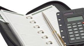 日程表计算器笔 免版税图库摄影