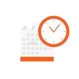 日程表,任命,重要日期概念 排进日程在白色背景和时钟象隔绝的象 皇族释放例证