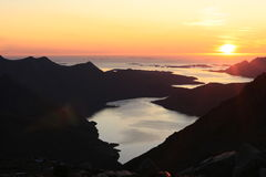 日落。Lofoten,挪威 免版税库存照片