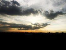 日落一天的为时亮光 库存照片