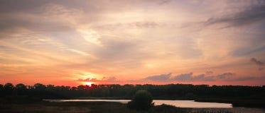 日落云彩在Czechia 库存图片