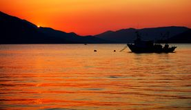 日落亚得里亚海科托尔黑山 图库摄影