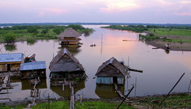 日落伊基托斯Amazonas河 库存图片