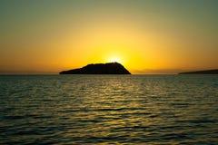 日落伽利纳科尔特斯海岛海  图库摄影