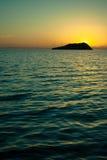 日落伽利纳科尔特斯海岛海  免版税库存照片