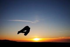 日落体操运动员 库存图片