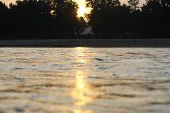 日落光彩的阳光风景 免版税库存照片