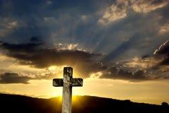 日落十字架 库存照片