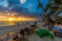 日落博拉凯海滩 免版税库存图片