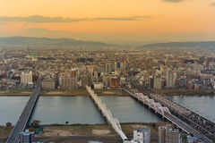 日落口气,大阪resience是 免版税库存照片