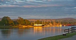 日落古苏格兰运河 免版税图库摄影