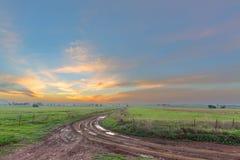 日落和一条泥泞的路 库存照片