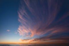 日落和云彩的全景构成 免版税库存图片