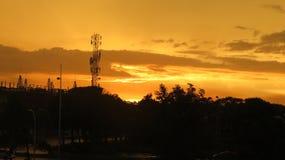日落和云彩从巴拿马市 免版税库存图片