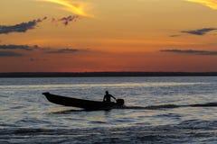 日落和剪影在巡航的小船亚马孙河,巴西 免版税库存图片
