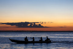 日落和剪影在巡航的小船亚马孙河,巴西 库存图片