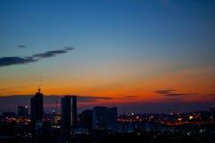 日落和城市 免版税图库摄影