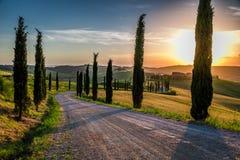 日落和弯曲道路有柏的在托斯卡纳 免版税库存图片
