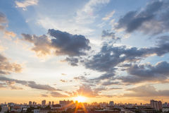 日落和日出 免版税库存照片