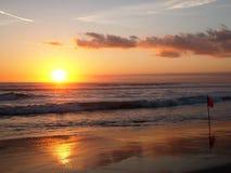 日落和海滩 免版税库存图片