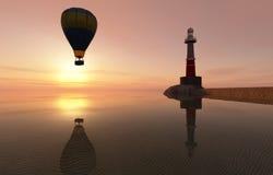 日落和热空气气球 库存照片