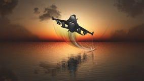 日落和飞机 库存图片