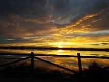 日落圣佩德罗火山del Pinatar 免版税库存照片