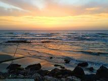 日落在一天渔以后 免版税库存图片