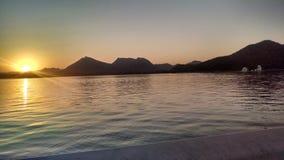 日落在乌代浦 图库摄影