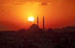 日落在伊斯坦布尔 免版税库存照片
