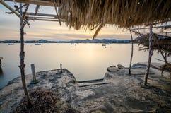 日落在伊维萨岛 免版税库存照片