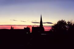 日落在住宅区的圣约翰NB 库存照片