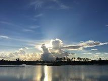 日落在佛罗里达沼泽地沼泽  库存图片