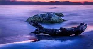 日落在克莱佩达 免版税库存图片