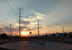日落在公园 免版税图库摄影