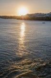 日落在兰萨罗特岛 免版税库存照片