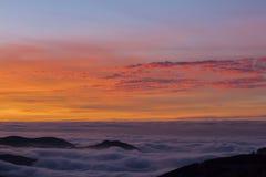 日落在内华达山,格拉纳达,西班牙 免版税库存照片