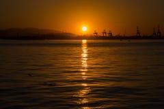 日落在冬日在里约热内卢 库存图片