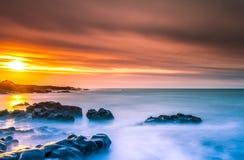 日落在冰岛 库存照片