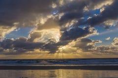 日落在加的夫,圣地亚哥 库存图片