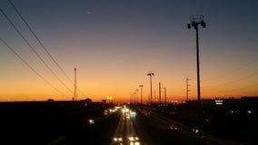 日落在华雷斯城,奇瓦瓦狗,墨西哥 免版税图库摄影