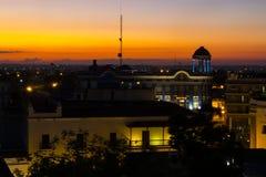 日落在卡马圭古巴 免版税库存图片