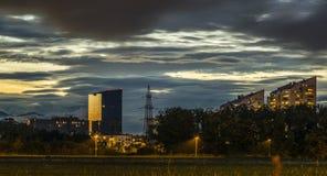 日落在卢布尔雅那 库存照片