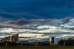日落在卢布尔雅那 免版税库存照片