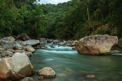 日落在国家公园Machay,南美洲 免版税库存图片