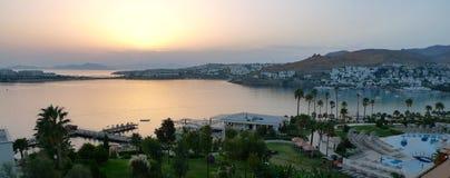 日落在土耳其博德鲁姆 免版税库存图片