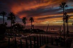 日落在圣塔蒙尼卡 免版税库存照片
