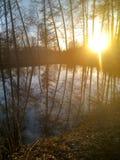 日落在圣彼德堡公园在早期的春天在池塘附近 免版税库存照片