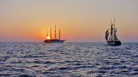 日落在圣托里尼,希腊 库存照片