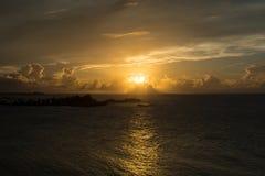 日落在圣胡安波多黎各 免版税库存图片